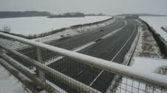 Time lapse on the A1/M motorway in winter snow, leeds, yorkshire, united kingdom Stock Footage