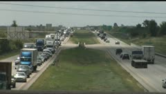 Highway Traffic Backup Straight on Stock Footage