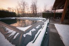 Swimming pool on winter - stock photo