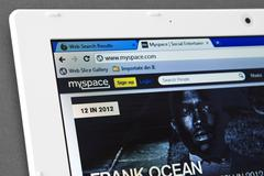 Myspace web page on the browser Stock Photos