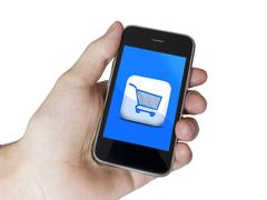 Modern touch blue screen phone e-commerce Stock Photos