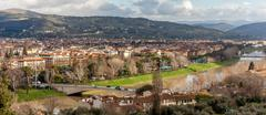 Arno river and san niccolò bridge - panoramic Stock Photos