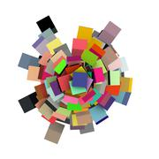 3d render concentric cubes in multiple colors on white - stock photo