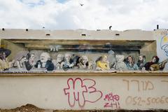 last supper grafitti imitation - stock photo