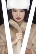 beautiful sexy japanese asian girl in fur coat and hat - stock photo