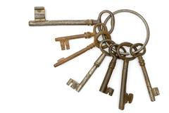 Rusty Bunch of Keys Isolated on a White Background Stock Photos