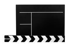 Clapboard with Clipping Path Isolated on a White Background Stock Photos