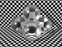 glass balls on checkerboard background - stock illustration