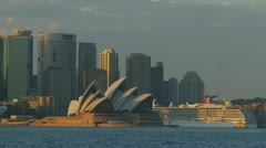 Large Cruise Liner passes Sydney Opera House (over 1 minute!) - stock footage