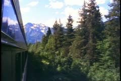"""""""The Canadian"""" train, POV from train, pines forward Stock Footage"""