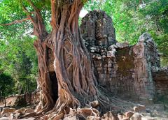 ancient temple preah khan - stock photo