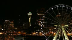 Seattle Space Needle & Ferris Wheel from Ferry Boat - stock footage