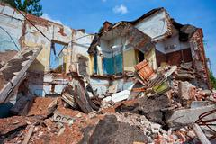 destroyed building, can be used as demolition, earthquake, bomb, terrorist at - stock photo