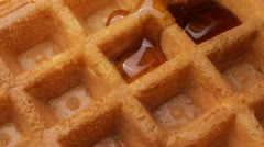Maple syrup on waffle Stock Footage