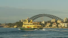 Two Ferries with Sydney Harbour bridge background Stock Footage