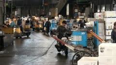 Tsukiji fish market, trader, business, meeting, phone, Tokyo Stock Footage