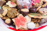 Festive holiday cookie tray Stock Photos