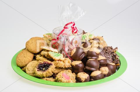 Stock photo of festive holiday cookie tray