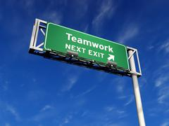 Teamwork - Freeway Exit Sign - stock illustration