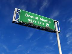 Social Media - Freeway Sign Stock Illustration