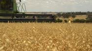 Stock Video Footage of Header harvesting a crop of oats on an Australian farm