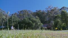 Cutting lawn in Australia (1) Stock Footage