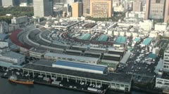 Overview of the Tsukiji fish market from a high angle Stock Footage
