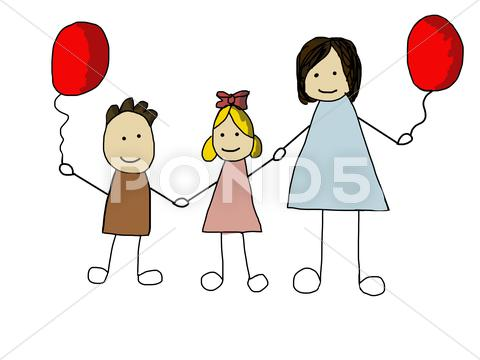 Stock Illustration of doodle family - cartoon illustration in hand drawn style. mom with her child