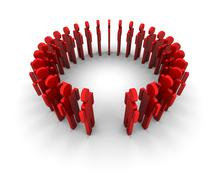 People Form Circle - One Missing - stock illustration