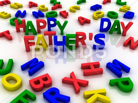 Stock Illustration of happy father's day spelled out with colorful letters