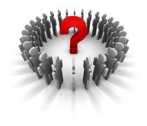 People Circle - Red Question Mark In The Center Stock Illustration