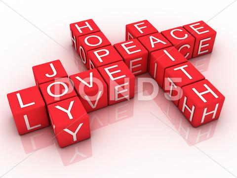 Stock Illustration of 3d words of faith, hope and love