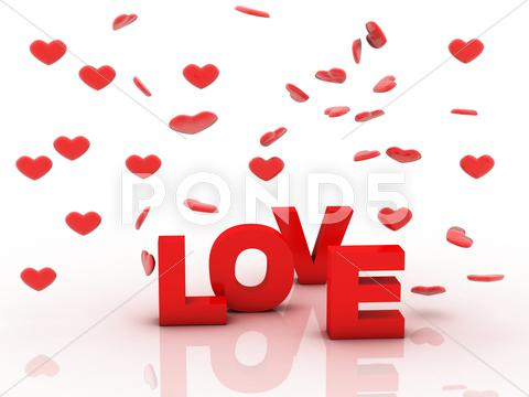 Stock Illustration of love is in 3d letters with red heart on a white