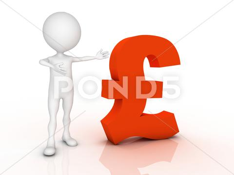 Stock Illustration of 3d man leaning on a pound sign isolated over a white background