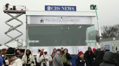 CBS News booth at 2013 inauguration Stock Footage