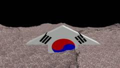 South Korea flag arrow in abstract ocean of Won animation Stock Footage
