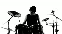 Drummer in a studio Stock Footage