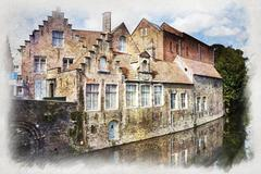 Bruges canal, Belgium - stock photo