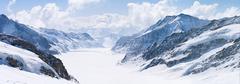 great aletsch glacier jungfrau alps switzerland - stock photo