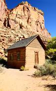 frontier schoolhouse, capitol reef, southern ut - stock photo