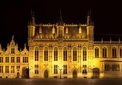 Bourg square at night, bruges. belgium Stock Photos