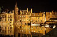 Bruges canal at night, belgium Stock Photos