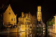 Bruges canal at night, belgium Stock Photos