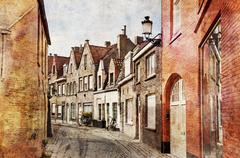 streets of bruges, belgium - stock photo