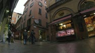 People on streets of Bologna city, Italy Stock Footage