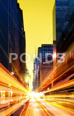 Stock photo of modern urban city at night time