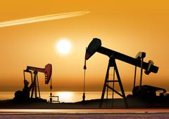 working oil pumps - stock photo