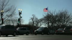 Intersection with American Flag in background Stock Footage