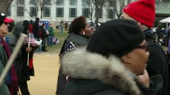 Man passing out flags at inauguration 2013 Stock Footage