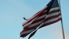 Torn tattered american flag 3 Stock Footage